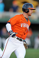 Virginia Cavaliers first baseman Jared King #13 runs to first during a game against the Clemson Tigers at Doug Kingsmore Stadium on March 15, 2013 in Clemson, South Carolina. The Cavaliers won 6-5.(Tony Farlow/Four Seam Images).