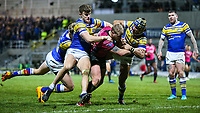Leeds Rhinos' Ash Handley and Ashton Golding cannot prevent Hull FC 's Jordan Abdull from scoring his side's second try<br /> <br /> Photographer Alex Dodd/CameraSport<br /> <br /> Betfred Super League Round 5 - Leeds Rhinos v Hull FC - Thursday 8th March 2018 - Headingley Carnegie Stadium - Leeds<br /> <br /> World Copyright &copy; 2018 CameraSport. All rights reserved. 43 Linden Ave. Countesthorpe. Leicester. England. LE8 5PG - Tel: +44 (0) 116 277 4147 - admin@camerasport.com - www.camerasport.com