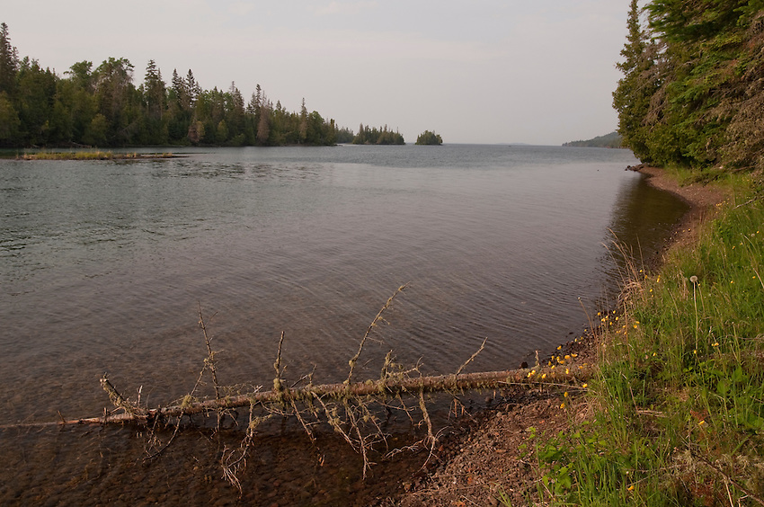 Shoreline of Duncan Bay on Lake Superior at Isle Royale National Park in Michigan.