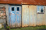 South Harris, Isle of Lewis and Harris, Scotland:<br /> Colorful old shed with a blue door