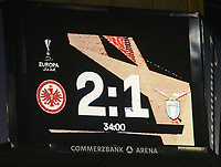 Zwischenstand auf dem Videowürfel - 04.10.2018: Eintracht Frankfurt vs. Lazio Rom, UEFA Europa League 2. Spieltag, Commerzbank Arena, DISCLAIMER: DFL regulations prohibit any use of photographs as image sequences and/or quasi-video.