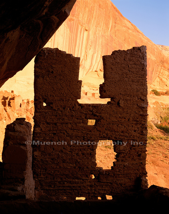 """Anasazi Ruin Wall, Poncho House, Chinle Wash   UTAH"""