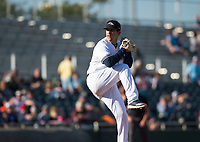Peoria Javelinas relief pitcher Daniel Brown (49), of the Milwaukee Brewers organization, delivers a pitch during the Arizona Fall League Championship Game against the Salt River Rafters at Scottsdale Stadium on November 17, 2018 in Scottsdale, Arizona. Peoria defeated Salt River 3-2 in 10 innings. (Zachary Lucy/Four Seam Images)