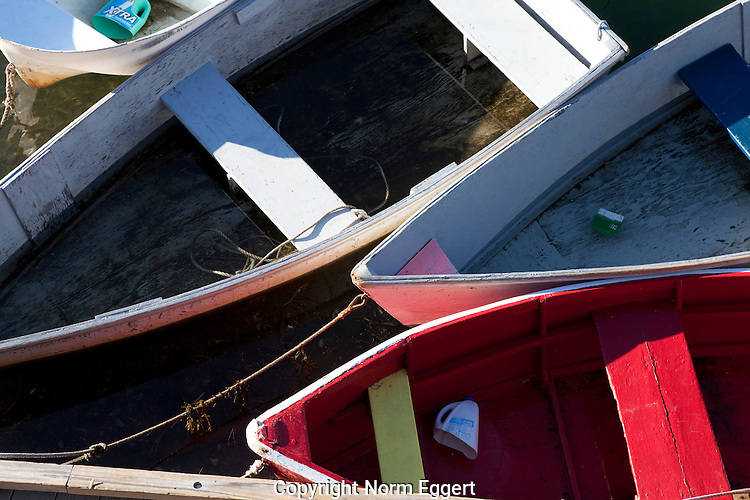 Rowboats tied up at a dock in Rockport Harbor, Massachusetts
