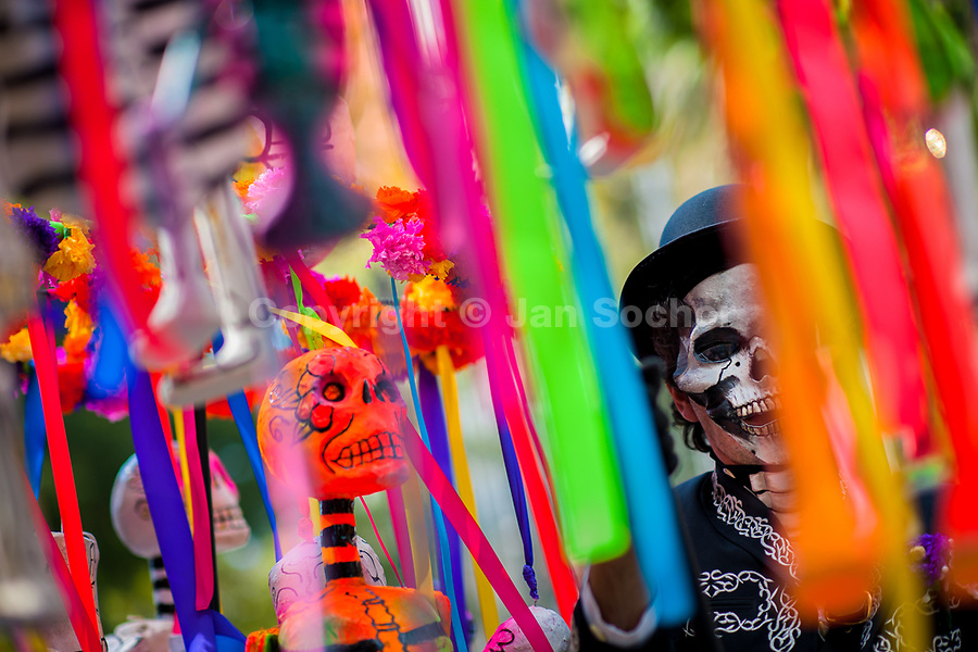 A Mexican man, dressed as skeleton (Calaca), performs during the Day of the Dead festival in Mexico City, Mexico, 29 October 2016. Day of the Dead (Día de Muertos), a syncretic religious holiday combining the death veneration rituals of the ancient Aztec culture with the Catholic practice, is celebrated throughout all Mexico. Based on the belief that the souls of the departed may come back to this world on that day, people gather at the gravesites in cemeteries praying, drinking and playing music, to joyfully remember friends or family members who have died and to support their souls on the spiritual journey.