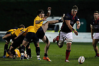 Matas Jurevicius of London Scottish charges down the kick during the Championship Cup match between London Scottish Football Club and Yorkshire Carnegie at Richmond Athletic Ground, Richmond, United Kingdom on 4 October 2019. Photo by Carlton Myrie / PRiME Media Images