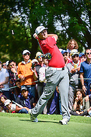 Jon Rahm (ESP) watches his tee shot on 8 during round 4 of the World Golf Championships, Mexico, Club De Golf Chapultepec, Mexico City, Mexico. 3/5/2017.<br /> Picture: Golffile | Ken Murray<br /> <br /> <br /> All photo usage must carry mandatory copyright credit (&copy; Golffile | Ken Murray)