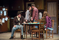 From left, Alexander Waxler '18, Lindsay Fisher '17, Rhys Hyatt '17 and Shea Backes '18. The Occidental College Theater Department presents Refuge by Jessica Goldberg, directed by Culley guest artist Chris Fields, Keck Theater, Nov. 5, 2014. (Photo by Marc Campos, Occidental College Photographer)