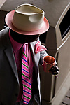 LOUISVILLE, KY - MAY 04: A man drinks a Woodford Reserve Spire while dressed in his best pink attire on Kentucky Oaks Day at Churchill Downs on May 4, 2018 in Louisville, Kentucky. (Photo by Scott Serio/Eclipse Sportswire/Getty Images)