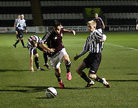 Jamie Walker beats Jack Smith in the St Mirren v Heart of Midlothian Clydesdale Bank Scottish Premier League U20 match played at St Mirren Park, Paisley on 6.11.12.