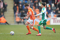 Blackpool's Matthew Virtue under pressure from Plymouth Argyle's Ruben Lameiras<br /> <br /> Photographer Kevin Barnes/CameraSport<br /> <br /> The EFL Sky Bet League One - Blackpool v Plymouth Argyle - Saturday 30th March 2019 - Bloomfield Road - Blackpool<br /> <br /> World Copyright © 2019 CameraSport. All rights reserved. 43 Linden Ave. Countesthorpe. Leicester. England. LE8 5PG - Tel: +44 (0) 116 277 4147 - admin@camerasport.com - www.camerasport.com