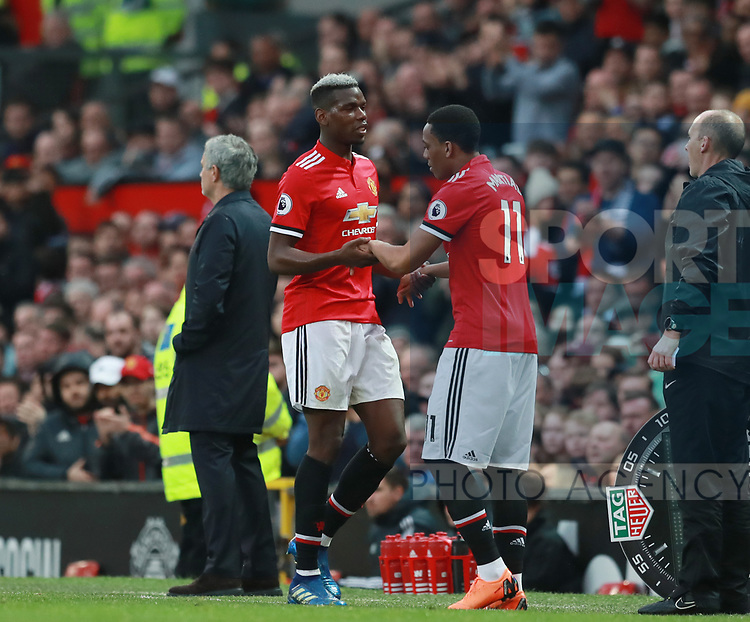 Anthony Martial of Manchester United replaces Paul Pogba of Manchester United during the premier league match at the Old Trafford Stadium, Manchester. Picture date 15th April 2018. Picture credit should read: Simon Bellis/Sportimage