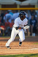 Lakeland Flying Tigers left fielder Christin Stewart (20) runs to first during a game against the Tampa Yankees on April 7, 2016 at Henley Field in Lakeland, Florida.  Tampa defeated Lakeland 9-2.  (Mike Janes/Four Seam Images)