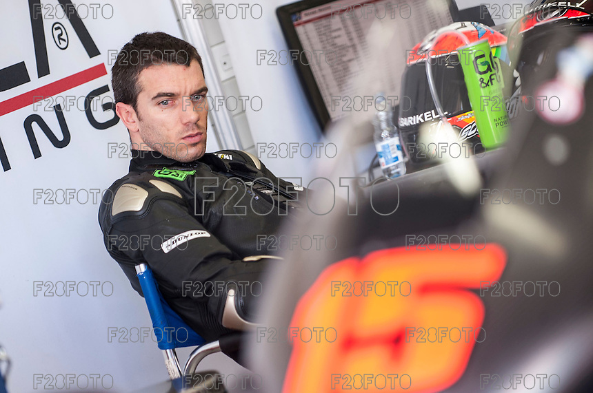 Alex De Angelis in his box at pre season winter test IRTA Moto3 & Moto2 at Ricardo Tormo circuit in Valencia (Spain), 11-12-13 February 2014