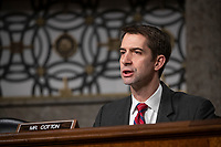 Senator Tom Cotton, Republican of Arkansas, asks a question during a Senate Armed Services Committee on Capitol Hill in Washington, DC on February 7, 2019. Credit: Alex Edelman / CNP/AdMedia