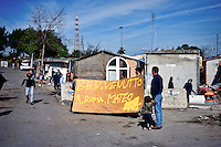 The Roma prepare the welcome signs for Matteo Salvini.<br /> The secretary of the Northern League, Matteo Salvini visited the roma camp  of Via Salviati to Tor Sapienza neighborhood on the outskirts of Rome.  The Roma camp in via Salviati and inhabited by about 450 people from the former Yugoslavia. Rome, Italy. 24th Febraury 2016.