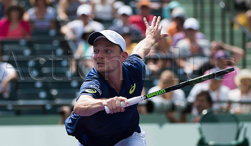 02.04.2016. Key Biscayne, Florida, USA. Miami Open tennis tournament, Mens semi-finals, Novak Djokovic versus David Goffin.   David Goffin of Belgium returns to Novak Djokovic. Djokovic won in 2 sets to make the final