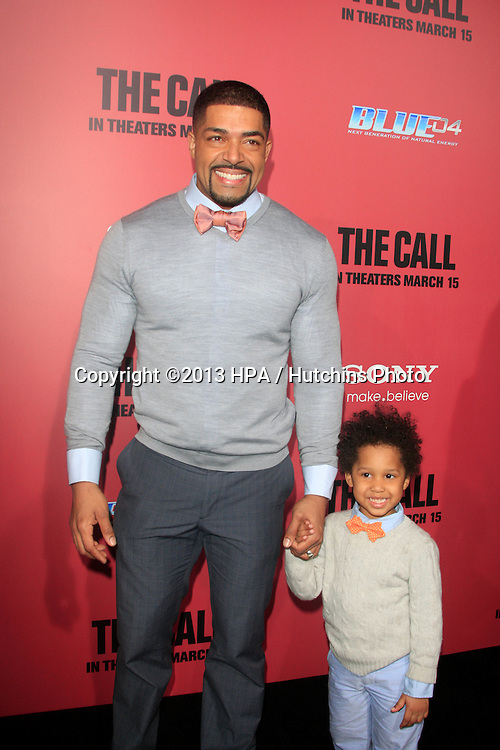 "LOS ANGELES - MAR 5:  David Otunga, David Otunga Jr. arrives at ""The Call"" Premiere at the ArcLight Hollywood Theaters on March 5, 2013 in Los Angeles, CA"