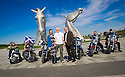 Dr Bob Grant, who lost his leg to cancer, is joined by Louise Duncan, Maggie's Fund raising organiser, Maggie's Board Member Allan Crow, and riders from the Harley Davidson Dunedin Chapter, as he launches the fundraising drive for his 117-mile walk for Maggie's at the Kelpies......<br />