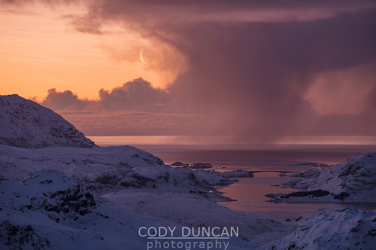 Winter storms over Vestfjord at dawn, Moskenesøy, Lofoten Islands, Norway