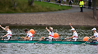 Glasgow, Scotland, Sunday, 5th  August 2018, Final Men's  Single Sculls, Gold  Medalist, GER M8+,  Bow,  GER M8+, Bow, Johannes WEISSENFELD, Felix WIMBERGER, Maximilian PLANER, Torben JOHANNESEN, Jakob SCHNEIDER, Malte JAKSCHIK, Richard SCHMIDT, <br /> Hannes OCIK and cox Martin SAUER,  European Games, Rowing, Strathclyde Park, North Lanarkshire, &copy; Peter SPURRIER/Alamy Live News