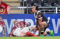 Picture by Allan McKenzie/SWpix.com - 08/09/2017 - Rugby League - Betfred Super League - The Super 8's - Hull FC v Wigan Warriors - KC Stadium, Kingston upon Hull, England - HJull FC's Mahe Fonua celebrates his try against Wigan.