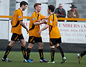 Alloa's Jonathan Tiffoney (centre) celebrates after he scores their third goal.
