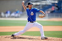Biloxi Shuckers relief pitcher Tayler Scott (31) delivers a pitch during a game against the Jackson Generals on April 23, 2017 at MGM Park in Biloxi, Mississippi.  Biloxi defeated Jackson 3-2.  (Mike Janes/Four Seam Images)