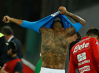 Miguel Allan's tatto during the  italian serie a soccer match,between SSC Napoli and   Bologna FC    at  the San  Paolo   stadium in Naples  Italy , September 18, 2016