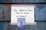 Memorial for 9/11, September 11th 2001 with writings West Seattle Washington State USA