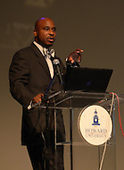 September 8, 2011 (Washington, DC)  Dr. Bryant Marks, Assitant Professor, Morehouse College, Department of Psychology, speaks at The Presidential Symposium: Beyond the Stereotypes-Academics, Athletics, Character and Black Male Achievement held at Howard University's Crampton Auditorium.   The symposium, presented by Howard University and Morehouse College, was a day-long discussion that included scholars, students, actors and sports columnists, and preluded the AT&T Nations Football Classic between Howard and Morehouse.   (Photo by Don Baxter/Media Images International)