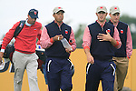 Tiger Woods, Dustin Johnson and Jim Furyk walk off the 8th tee during Practice Day 3 of the The 2010 Ryder Cup at the Celtic Manor, Newport, Wales, 29th September 2010..(Picture Eoin Clarke/www.golffile.ie)