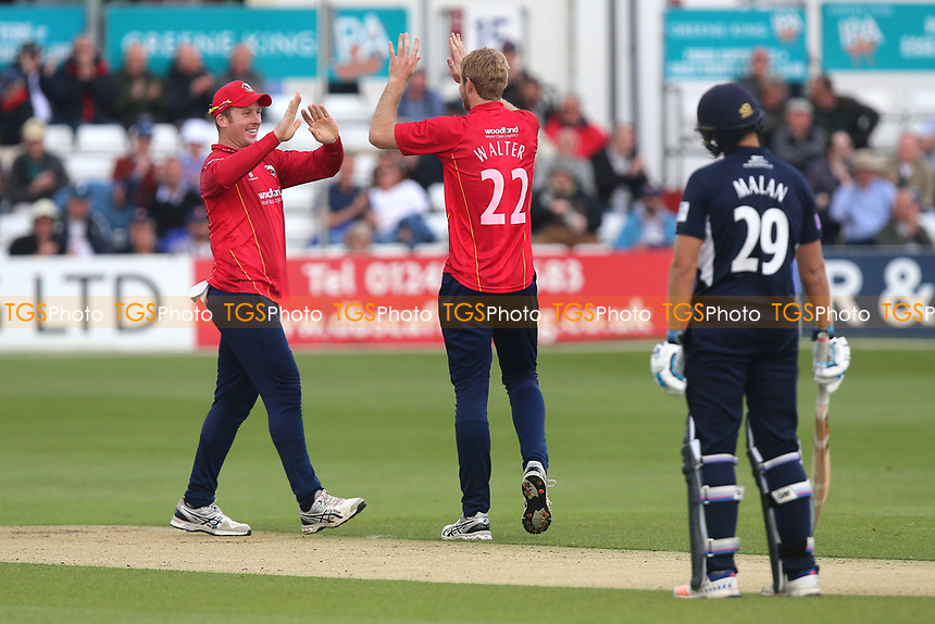 Paul Walter of Essex celebrates taking the wicket of Nick Compton during Essex Eagles vs Middlesex, Royal London One-Day Cup Cricket at The Cloudfm County Ground on 12th May 2017