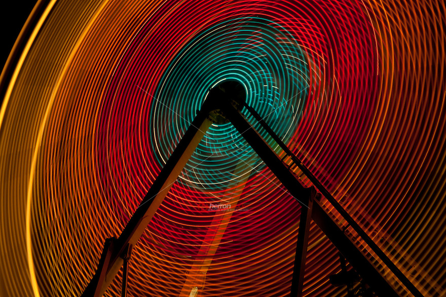 Big ferris wheel and carnival lights (multiple time exposure) in Austin, Texas
