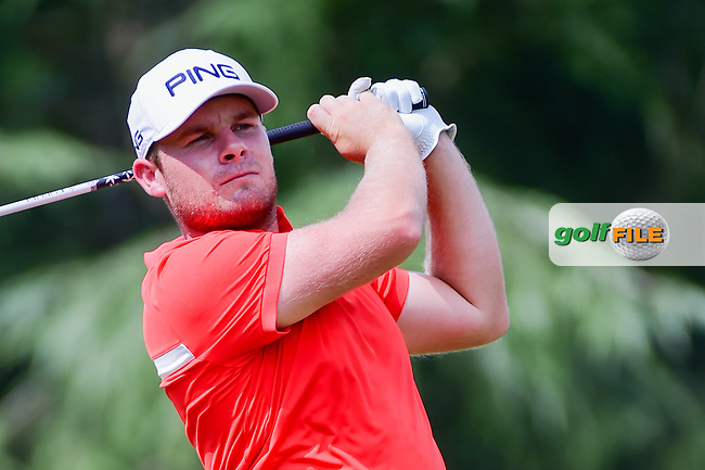 Tyrell Hatton (ENG) watches his tee shot on 9 during Friday's round 2 of the PGA Championship at the Quail Hollow Club in Charlotte, North Carolina. 8/11/2017.<br /> Picture: Golffile   Ken Murray<br /> <br /> <br /> All photo usage must carry mandatory copyright credit (&copy; Golffile   Ken Murray)