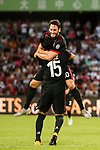 AC Milan Midfielder Hakan Calhanoglu (R) celebrating his goal with his teammate AC Milan Defender Gustavo Gomez (L) during the 2017 International Champions Cup China  match between FC Bayern and AC Milan at Universiade Sports Centre Stadium on July 22, 2017 in Shenzhen, China. Photo by Marcio Rodrigo Machado / Power Sport Images