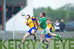 Ger Hartnett of Beaufort tackles with Thomas O'Rourke of Ballyduff last Saturday night in Ballyduff