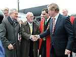 Brian Hanratty and Denis Lucey of Gorta meet An Taoiseach Enda Kenny and Mayor of Drogheda Kevin Callan at the Famine Commemoration in Drogheda. Photo: Colin Bell/pressphotos.ie