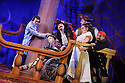 London, UK. 08.12.2015. Mischief Theatre Company presents PETER PAN GOES WRONG, at the Apollo Theatre. Co-written by Henry Lewis, Jonathan Sayer & Henry Shields, directed by Adam Meggido. Picture shows:  Jonathan Sayer (John Darling), Ellie Morris (Tootles), Henry Shields (Captain Hook), Charlie Russell (Wendy Darling), Henry Lewis (Starkey), Tom Edden (Cecco the Pirate). Photograph © Jane Hobson.
