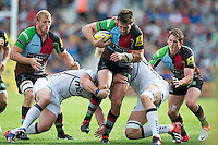 Tom Guest of Harlequins drives upfield during the Aviva Premiership match between Harlequins and Sale Sharks at The Twickenham Stoop on Saturday 15th September 2012 (Photo by Rob Munro)