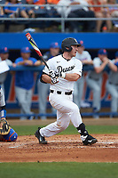 Ben Breazeale (39) of the Wake Forest Demon Deacons follows through on his swing against the Florida Gators in the completion of Game Two of the Gainesville Super Regional of the 2017 College World Series at Alfred McKethan Stadium at Perry Field on June 12, 2017 in Gainesville, Florida. The Demon Deacons walked off the Gators 8-6 in 11 innings. (Brian Westerholt/Four Seam Images)