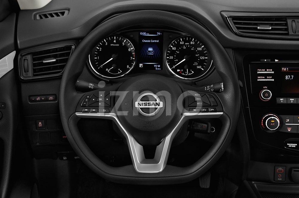 Car pictures of steering wheel view of a 2018 Nissan Rogue Sport S 4WD 5 Door SUV