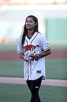 Kelsie Whitmore, a member of the USA Baseball Women's Team and one of two female players to appear in an independent league game with the Sonoma Stompers, is honored prior to the Lake Elsinore Storm game against the Bakersfield Blaze at The Diamond on August 5, 2016 in Lake Elsinore, California (Bill Mitchell)