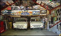 BNPS.co.uk (01202 558833)Pic: PeterLee/BNPS<br /> <br /> Peter has a workshop full of Transit's in his back garden.<br /> <br /> Transit-man Peter Lee - Lifetime's collection of anything related to Britains favourite van.<br /> <br /> White van Super-Man - When it comes to motoring collections there are no shortage of impressive Ferrari and Aston Martin ensembles, but one enthusiast is laying claim to a rather different collection.<br /> <br /> Peter Lee, 68, believes he has the world's biggest Ford Transit collection and is the proud owner of over 22,000 items relating to the world's most famous van.<br /> <br /> Included among that are nine pristine vehicles that he regularly uses himself at various shows and events.<br /> <br /> He says he has no idea how much he's spent assembling the impressive collection but it is thought to be in the hundreds of thousands of pounds.