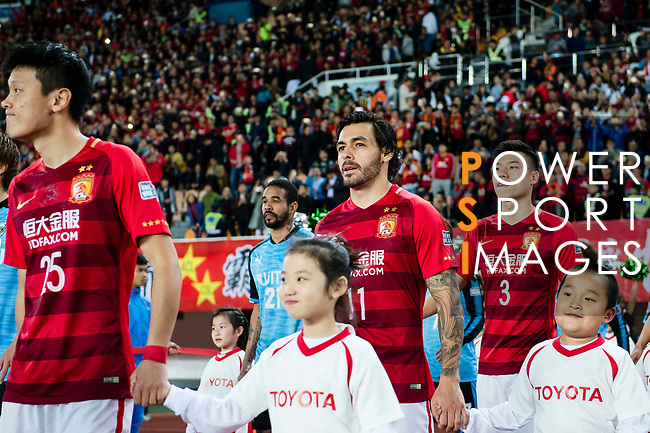 Guangzhou Forward Ricardo Goulart (C) getting into the field during the AFC Champions League 2017 Group G match between Guangzhou Evergrande FC (CHN) vs Kawasaki Frontale (JPN) at the Tianhe Stadium on 14 March 2017 in Guangzhou, China. Photo by Marcio Rodrigo Machado / Power Sport Images