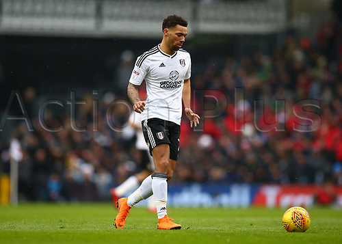 17th March 2018, Craven Cottage, London, England; EFL Championship football, Fulham versus Queens Park Rangers; Ryan Fredericks of Fulham passing the ball