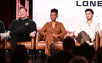 2020 FOX WINTER TCA: (L-R): 9-1-1: LONE STAR cast members Jim Parrack, Sierra McClain, and Ronen Rubinstein during the 9-1-1: LONE STAR panel at the 2020 FOX WINTER TCA at the Langham Hotel, Tuesday, Jan. 7 in Pasadena, CA. © 2020 Fox Media LLC. CR: Frank Micelotta/FOX/PictureGroup