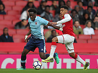 Blackpool U18's Nana Adarkwa competing with Arsenal U18's Dominic Thompson<br /> <br /> Photographer Andrew Kearns/CameraSport<br /> <br /> Emirates FA Youth Cup Semi- Final Second Leg - Arsenal U18 v Blackpool U18 - Monday 16th April 2018 - Emirates Stadium - London<br />  <br /> World Copyright &copy; 2018 CameraSport. All rights reserved. 43 Linden Ave. Countesthorpe. Leicester. England. LE8 5PG - Tel: +44 (0) 116 277 4147 - admin@camerasport.com - www.camerasport.com
