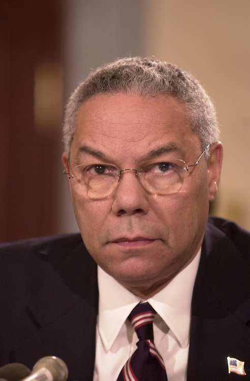2powell102401 -- Secretary of State, Colin Powell,in the U.S. Capitol to give congress information on recent developments on the fight against terror.