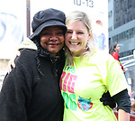 Tonya Pinkins and Laura Heywood, aka @BroadwayGirlNYC, attends Big Hug Day: Broadway comes together to spread kindness and raise funds for Children's Hospitals on January 21, 2018 at Duffy Square, Times Square in New York City.